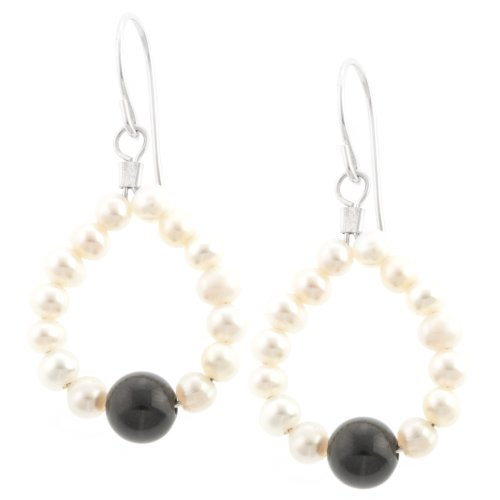 Sterling Silver Freshwater Cultured Pearl Teardrop and Onyx Beaded Drop Earrings