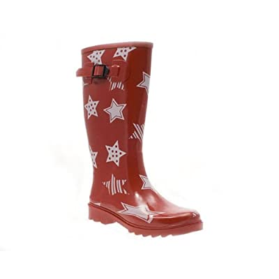 Barratts Womens Ladies Red Star Print Wellington Boots