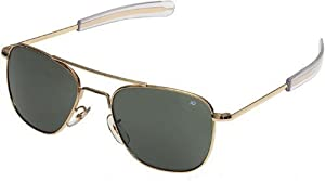 American Optical Original Pilot Eyewear 52mm Gold Frame with Bayonet Temples and True Color Gray Glass Lens