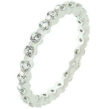 Sterling Silver Cubic Zirconia Prong Set Eternity Band in Size 9