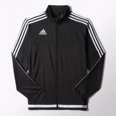 adidas Youth Soccer Tiro 15 Training Jacket, Black/White/Black, Small