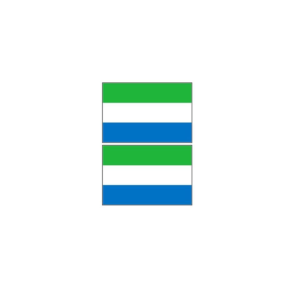 2 Sierra Leone Flag Stickers Decal Bumper Window Laptop Phone Auto Boat Wall