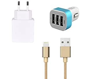 High Quality 1.0 Amp USB Charger, Golden USB Cable, 3 Jack USB Car Charger Co...