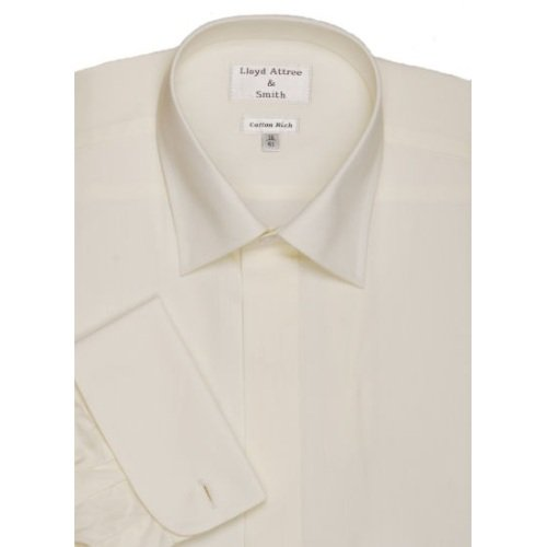 Mens Standard Collar Cotton Rich Long Sleeve Dress Shirt Ivory with Double Cuff