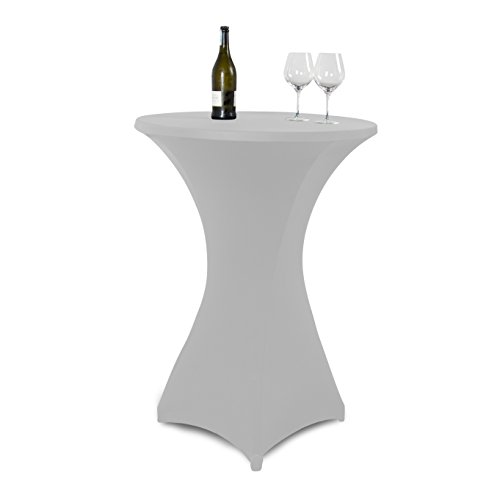 Vanage-Outdoor-Tischdecken-Strech-Husse-fr-StehtischeBistrotische-Tischdurchmesser-70-80-cm-grau