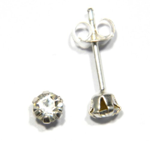 4 mm Austrian Crystal in Clear Stud Earring - Genuine 925 Sterling Silver. Add a little sparkle to your life!