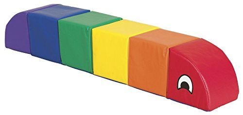 ECR4Kids SoftZone Sit and Play Rainbow Caterpillar, Small, Assorted Colors