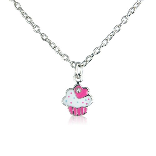 Cupcake children's necklace - matching ring and earrings available, also other colour options - (Pink)
