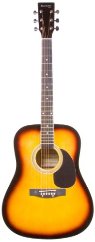 "41"" Inch Full Size Sunburst Handcrafted Steel String Dreadnought Acoustic Guitar & Directlycheap(Tm) Translucent Blue Medium Guitar Pick (Pro-1 Series)"