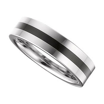 Size 8.5 - Tungsten Black Enamel Ring