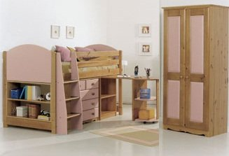 PINK MIDSLEEPER CABIN BED, WITH CHEST OF DRAWERS, PULL OUT DESK, BOOKCASE AND TWO DOOR WARDROBE FROM CENTURION PINE