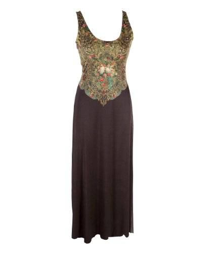 Enticing Long Dress Designed by Michal Negrin with Multicolor Swarovski Crystal Accents and Victorian Style Floral and Doves Pattern on the Bodice - Size L