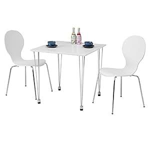 ダイニング テーブルとチェア2脚 3点セット シンプル ホワイト 96809-96807x2
