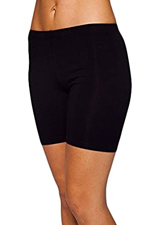 Womens Combed Cotton Basics 5 Inch Bike Short by In Touch, Black - Small