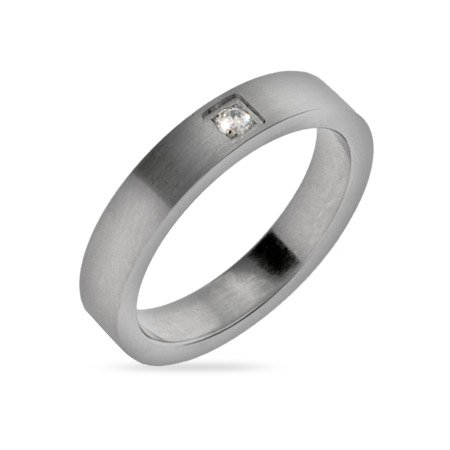 Mens Thin Stainless Steel Wedding Band with Single CZ Size 11 (Sizes 10 11 12 Available)