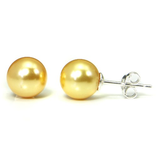Golden Yellow Freshwater 8MM Cultured Pearl Sterling Silver Stud Earrings
