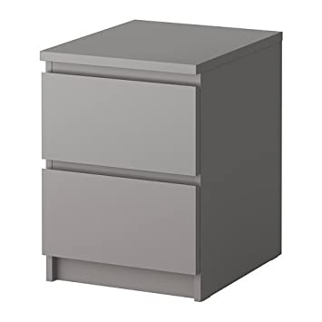 Ikea Malm Commode 2 Tiroirs Gris 40x55 Cm Mnbvcfhgfhgff