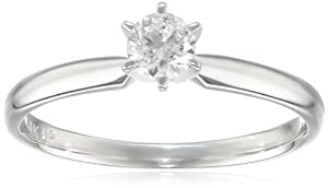 14k White Gold Round Diamond Solitaire Engagement Ring (1/3 cttw, H-I Color, SI2-I1 Clarity), Size 5