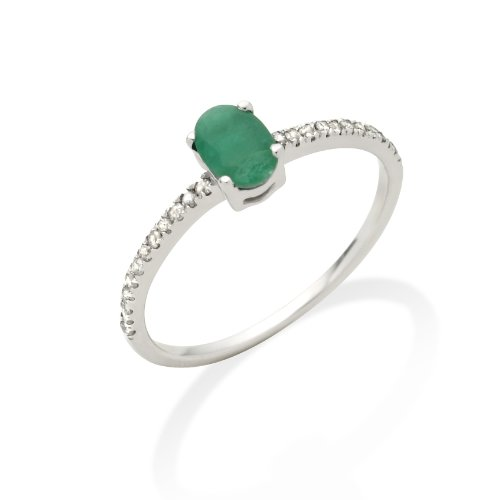 Emerald Ring, 9ct White Gold, Diamond Setting, Size L, by Miore, JM022RWM