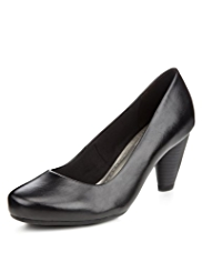 M&S Collection Leather Wide Fit Court Shoes