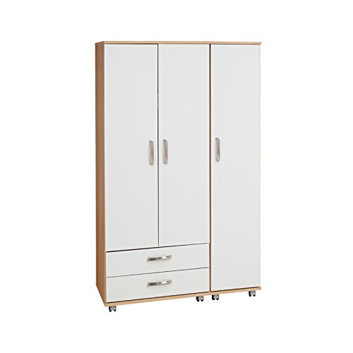 Ideal Furniture Regal 3 Door Wardrobe Plus 2 Drawers with Gloss, Cream