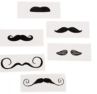 Mustache Party Tattoos- 36 Count, 39/2197