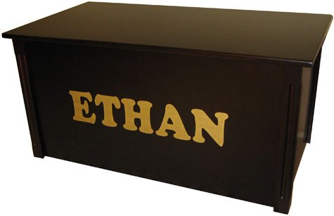 Personalized Espresso Toy Box with Cookie Lettering Optional Cedar Base: No, Customize: Yes
