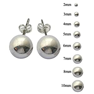 Silver stud earrings - ball size 2MM to 10MM - hand polished to a very high jewellery standard - packed in a lovely velvet pouch