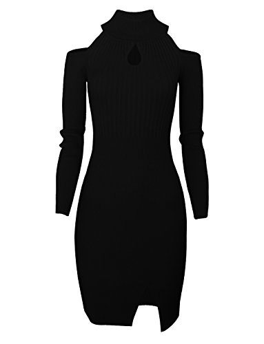 Tom's Ware Women Casual Slim Fit Knit Front Keyhole Sweater Bodycon Dress TWCWD076-BLACK-US XXL