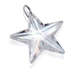 .925 Sterling Silver Clear Swarovski Crystals 27mm Star Pendant Charm
