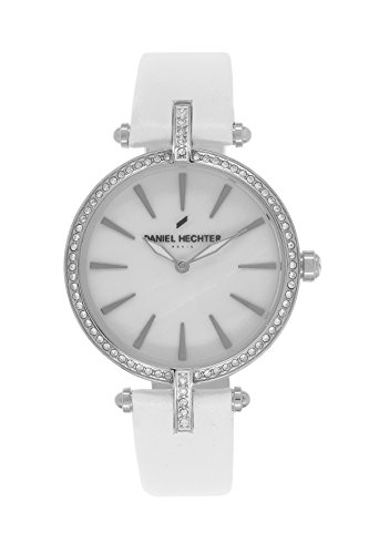 Daniel Hechter DHD BB - 010S/Women's Quartz Analogue Watch-White Face-White Leather Strap