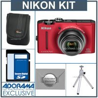 Nikon CoolPix S8100 Digital Camera Kit - Red - With 4GB SD Memory Card, Camera Case, 2 Year Extended Service Coverage, Table Top Tripod,
