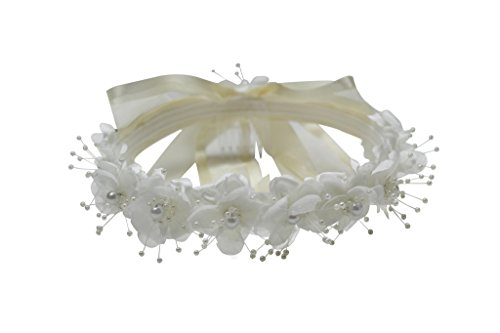 Paperio Flower Girl Headpiece for Easter, Wedding Hair Wreath (One Size) Ivory