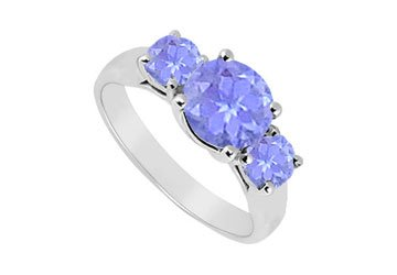 Sterling Silver Tanzanite Three Stone Ring 1.25 CT TGW MADE IN USA