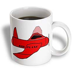 3Drose Red Plane With Airplane In Black Ceramic Mug, 15-Ounce