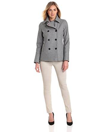 Tommy Hilfiger Women's Classic Double Breasted Wool Peacoat, Pale Grey, 14