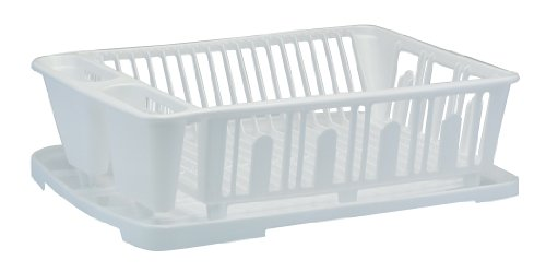 Image of United Solutions Plastic Dish Rack and Drain Board Set, White