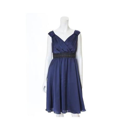 (イネド)INED dress カシュクールサテンワンピース ネイビー 09