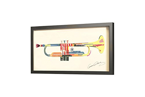 Trendiges-KunstLoft-Bild-Frame-Art-3D-Music-is-Life-81x41cm-Handgefertigte-Vintage-Wanddeko-aus-Papier-Instrument-Trompete-in-Bunt-3D-Wandbild-Collage-Art-moderne-Kunst-Retro-im-Bilderrahmen