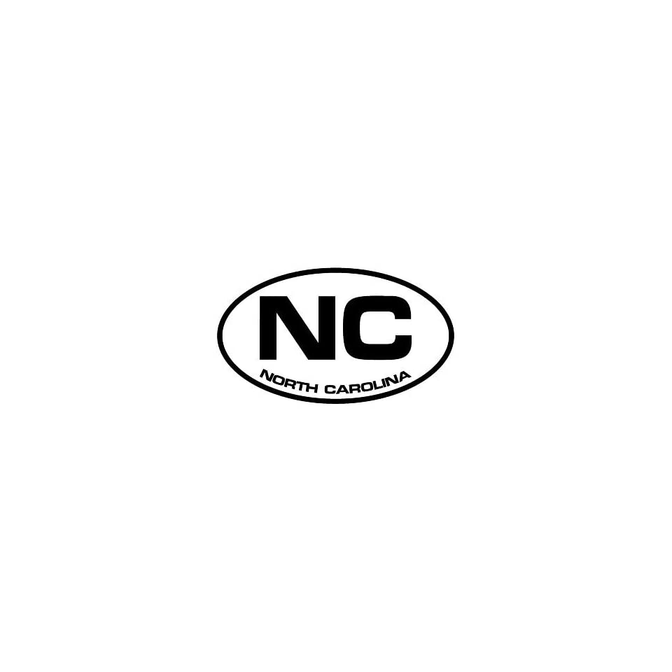 2 North Carolina NC euro oval style printed vinyl decal sticker for any smooth surface such as windows bumpers laptops or any smooth surface.