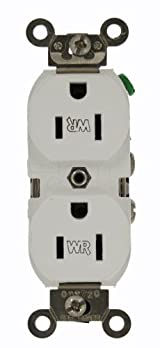 15 Amp, 125 Volt, Wide Body Duplex Receptacle, Industrial Grade, Self Grounding, Weather Resistant, White, WBR15-W