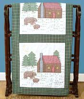 "Stamped White Quilt Blocks 18""X18"" 6/Pkg-Cabin & Bears"