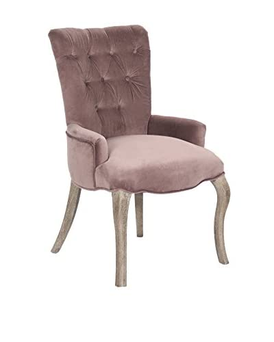 Zentique Iris Tufted Chair, Rose Pink/Limed Grey
