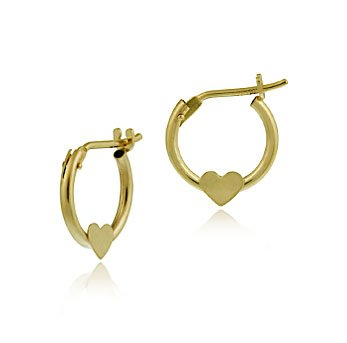 10K Gold Mini Hoop Heart Earrings