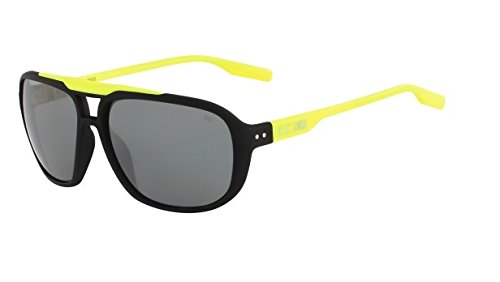 Nike Grey with Silver Flash MDL 205 Sunglasses, Matte Black/Volt