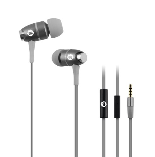 Brooklyn Headphone Company High Performance In-Ear Headphones With Built-In Microphone - Retail Packaging - Gray