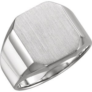 Sterling Silver 16x14mm Octagon Men's Signet Ring