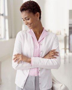 Devon & Jones Pink Ladies Everyday Cardigan Sweater. DP450W