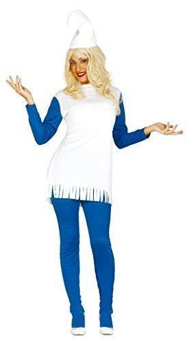 Da Donne Blu Gnomi Puffo 1980s Cartoon Film Costume Travestimento 14-18 - sintetico, Blu, 100% poliestere, Donna, 14-18