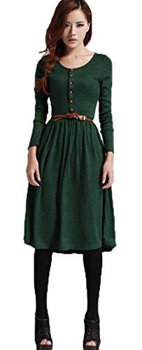 New Retro Elegant Slim Womens Long Sleeve Crewneck Soft Knitting Long Maxi Dress